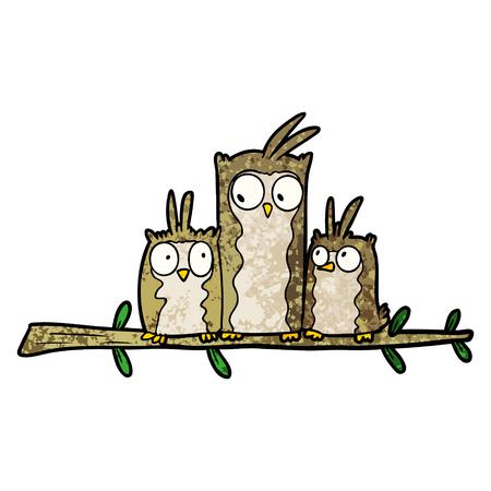 owl family cartoon Çizim