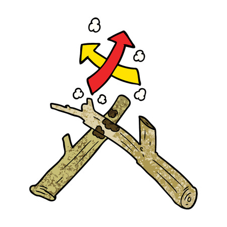 how to start a fire with two sticks illustration design