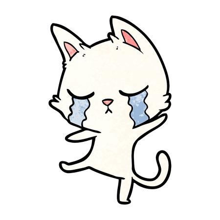crying cartoon cat performing a dance Illusztráció