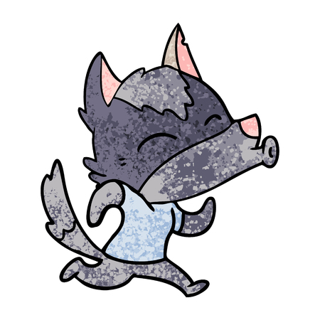 howling cartoon wolf wearing clothes