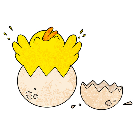 cartoon chick hatching from egg 일러스트