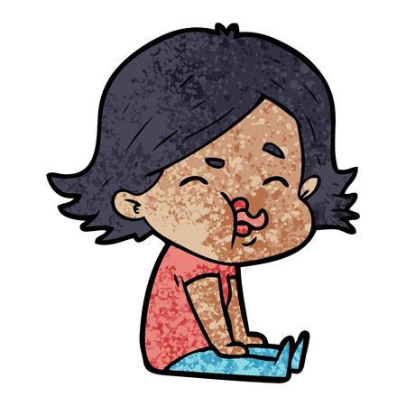 cartoon girl pulling face  イラスト・ベクター素材