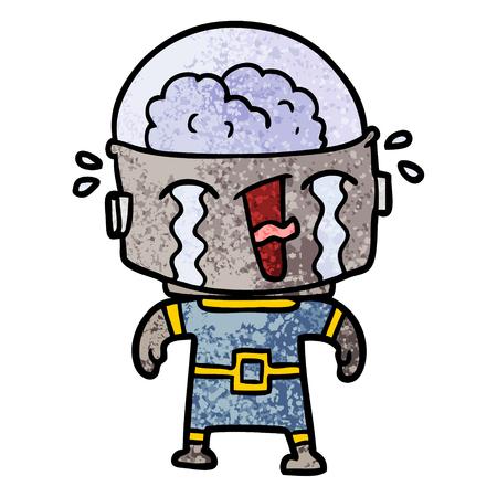 cartoon crying robot