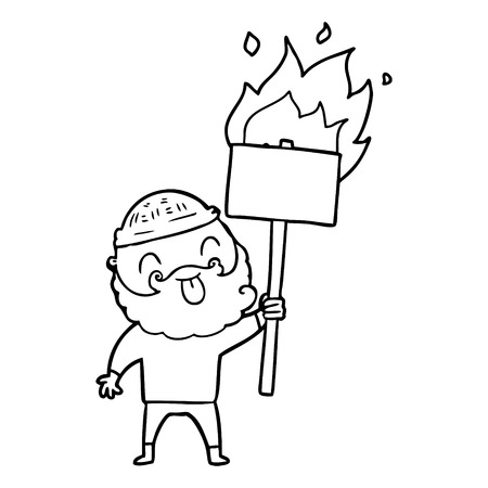 bearded protester cartoon with burning sign Stock Vector - 95679002
