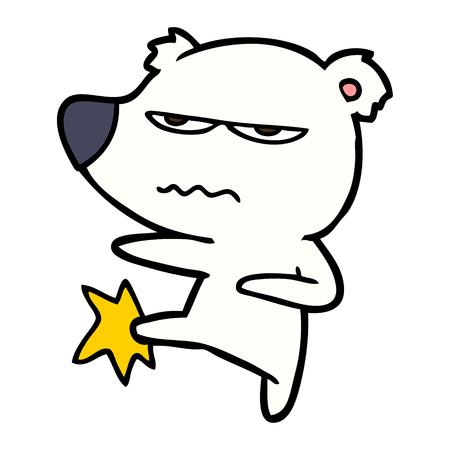 annoyed polar bear cartoon kicking out