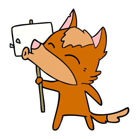 Fox cartoon character holding white placard