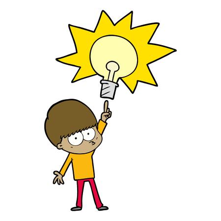 Cartoon boy with bulb of idea