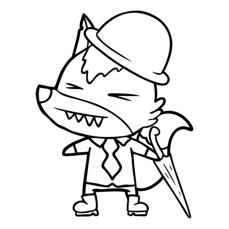 angry wolf boss cartoon Foto de archivo - 95745465