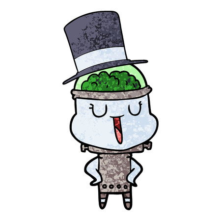 Happy cartoon robot wearing top hat