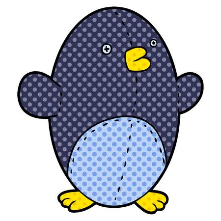 cartoon stuffed toy penguin Vector illustration.