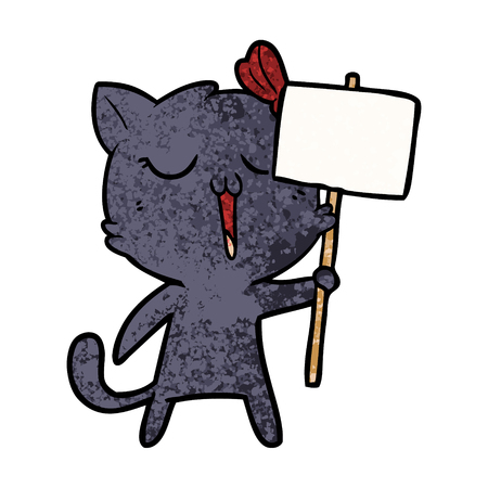 Cartoon cat with placard illustration on white background. 向量圖像