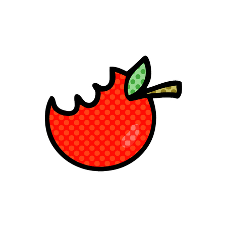 cartoon bitten apple Vector illustration. Çizim