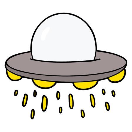 Cartoon flying saucer Stock Vector - 95687301
