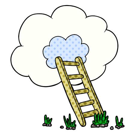 Cartoon ladder into cloud Çizim