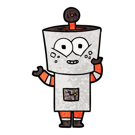 Happy cartoon robot waving hello Standard-Bild - 95687602