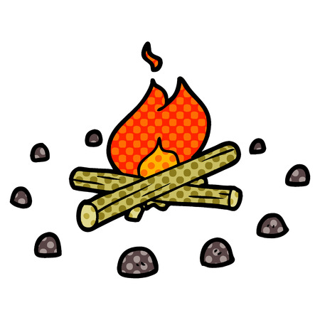 cartoon campfire Vector illustration.