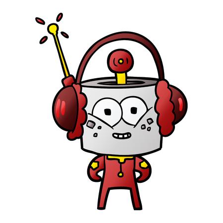 happy cartoon robot wearing headphones Vector illustration.