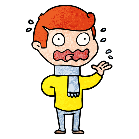cartoon man totally stressed out Vector illustration. Illustration
