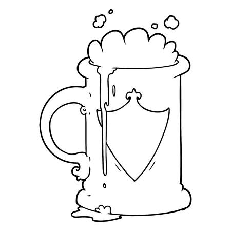 漫画発泡ビールベクトルイラスト。
