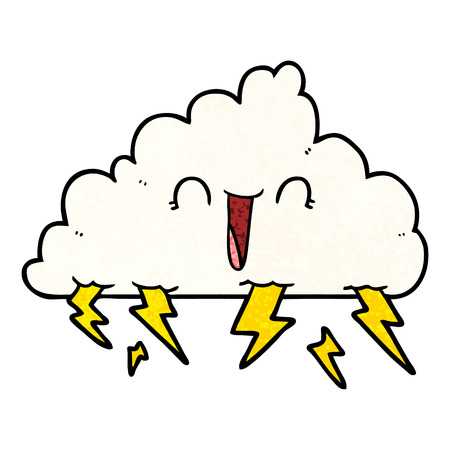 Cartoon happy thundercloud illustration on white background.