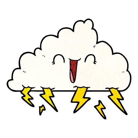Cartoon happy thundercloud illustration on white background.