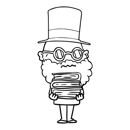 cartoon worried man with beard and stack of books Vector illustration.