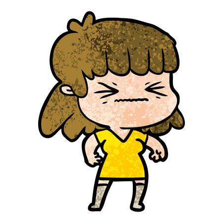 Cartoon woman closing her eyes