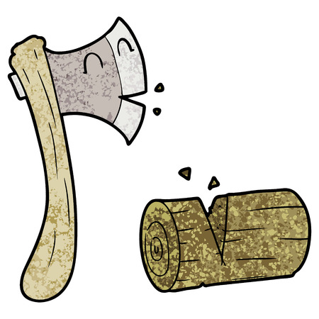 Cartoon ax chopping wood illustration on white background. 向量圖像