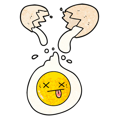 Cartoon cracked egg illustration on white background.