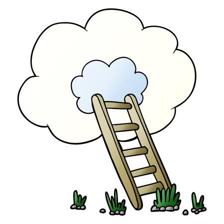 白い背景に孤立したベクトル、雲に漫画のはしご