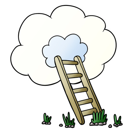 Isolated vector on white background, cartoon ladder into cloud Vettoriali
