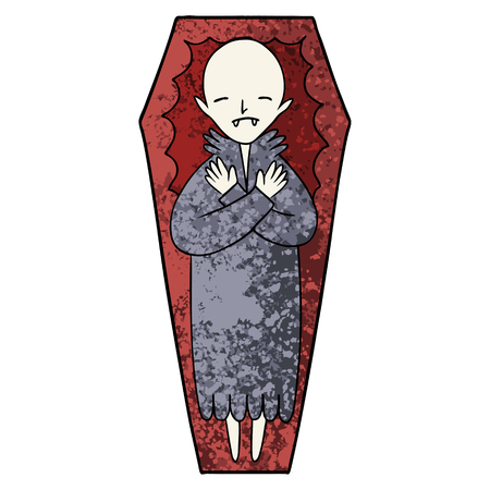 Spooky cartoon vampire in coffin