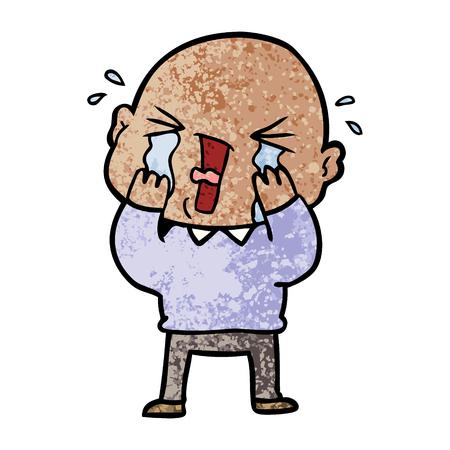 Cartoon crying bald man Illustration