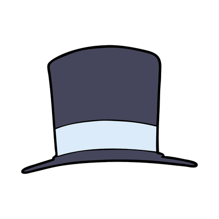 Cartoon top hat illustration on white background. Illustration
