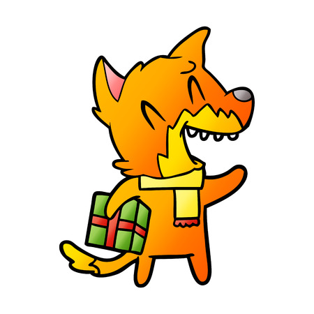 Fox cartoon character with present