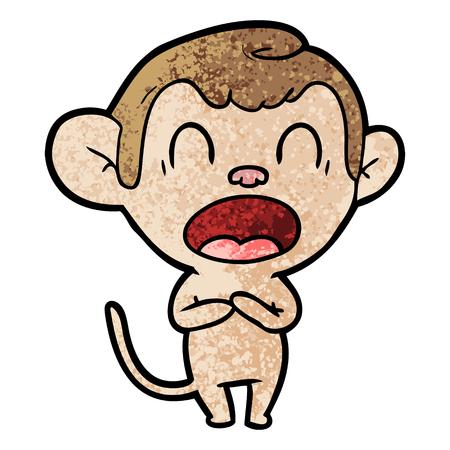 Yawning cartoon monkey