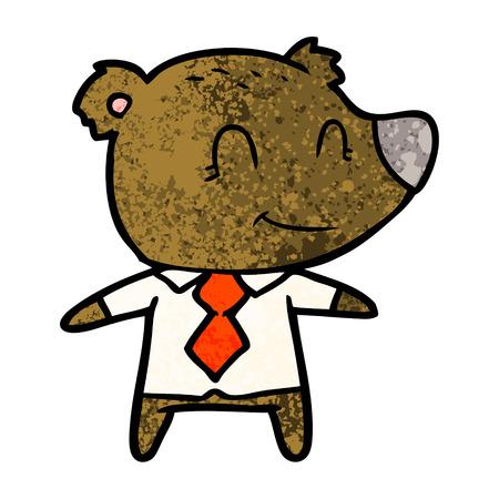 Cartoon bear in shirt and tie