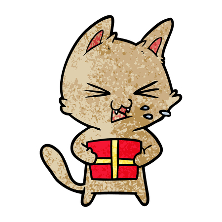 Cartoon hissing cat with Christmas present illustration on white background.