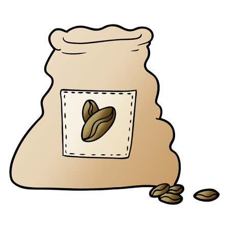 Isolated vector on white background, cartoon sack of coffee beans