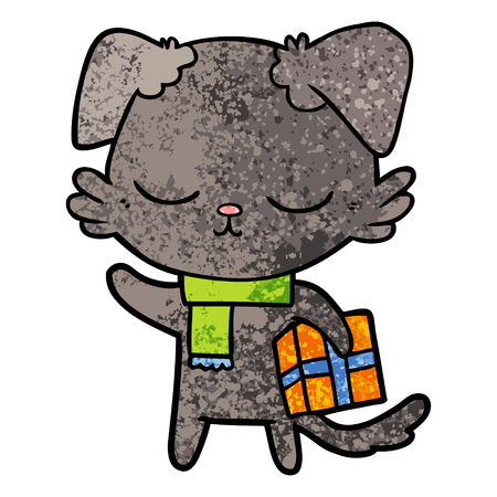 Cute cartoon cat with christmas present Illustration