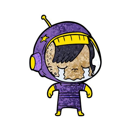 Cartoon crying astronaut girl illustration on white background. Illustration