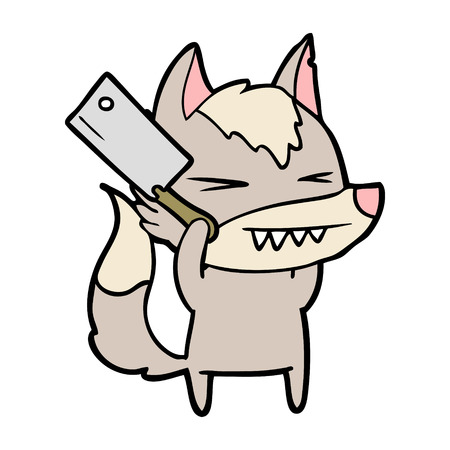 Angry wolf cartoon with knife