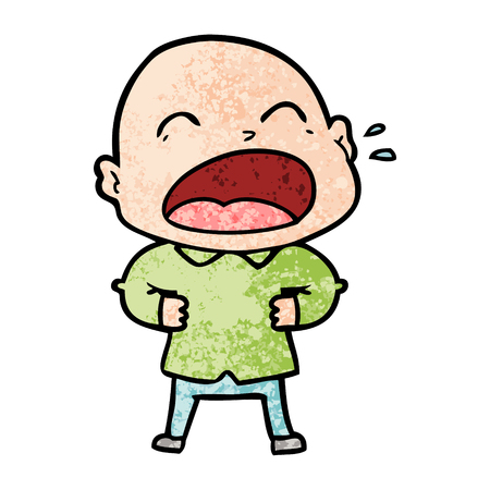 Cartoon shouting bald man Foto de archivo - 95725535