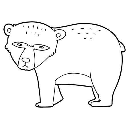 Cartoon serious bear illustration on white background. Çizim