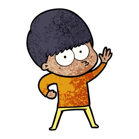 Nervous cartoon boy illustration on white background. Illustration