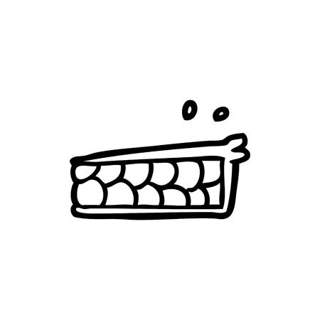 Cartoon pie illustration on white background.