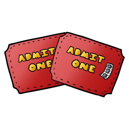 Cartoon tickets illustration on white background.