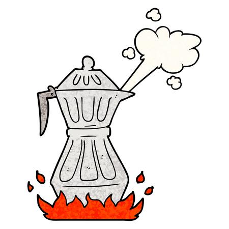 Cartoon steaming espresso pot Çizim