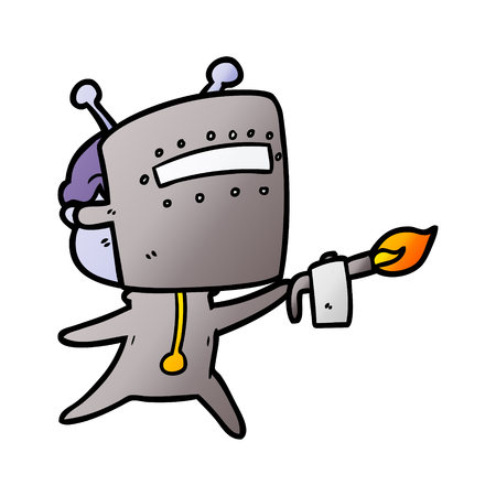 Friendly cartoon spaceman welding Ilustrace