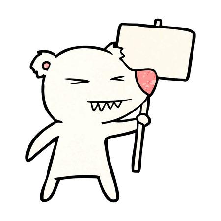 polar bear with protest sign cartoon Vector illustration.